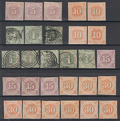 German States 1859 - 1861 ☀ THURN and TAXIS 2. issue ☀ 28v MH/used/NG - scan