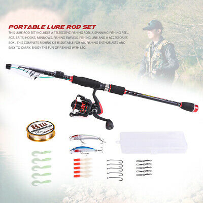 Telescopic Fishing Rod Reel Combo Full Kit Lures Line Spinning Fishing Set