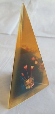 Vintage Dried Flowers in Resin Pyramid Yellowish / Blue