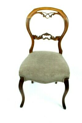 Antique Carved Walnut Balloon Back Chair - FREE Shipping [PL4990]