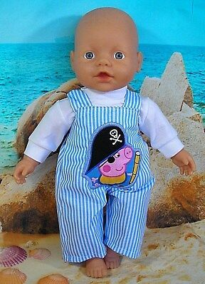 "Dolls clothes for 13"" My Little Baby Born Doll~PEPPA GEORGE BLUE STRIPE OVERALLS"