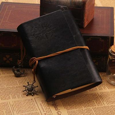 Classic Color PU Leather Retro Vintage Blank Page Notebook Journal Diary BLK XI