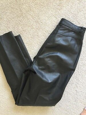 Womens Vintage 80s Black High waisted Leather Trousers XS/S