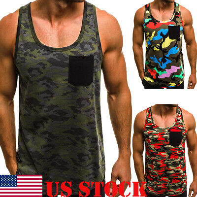 Mens Sleeveless Bodybuilding Tank Tops Gym T-Shirt Muscle Sports Fitness Vest US