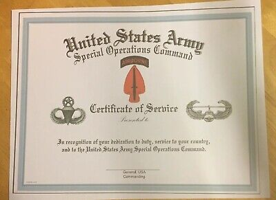 UNITED STATES ARMY Special Operations Certificate  Comes