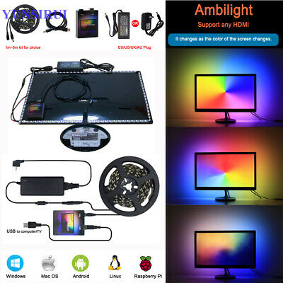 Kit LED TV Ambilight Effekt Zum Nachrüsten RGB WS2812B Desktop PC Monitor 5V