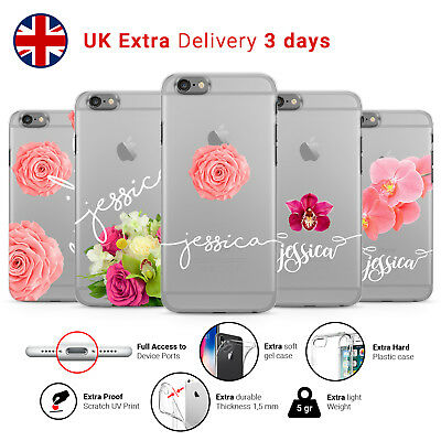 PERSONALISED FLORAL FLOWER TRANSPARENT CUSTOM NAME Phone Case Cover iPhone L49