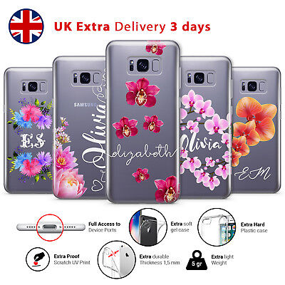 PERSONALISED FLORAL FLOWER TRANSPARENT CUSTOM NAME Phone Case Cover Samsung L46