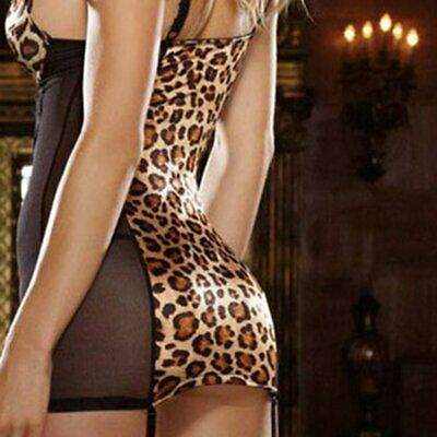 Fashionable Leopard Printed Women Sexy Lingerie Costumes Lace Babydoll Dress GN