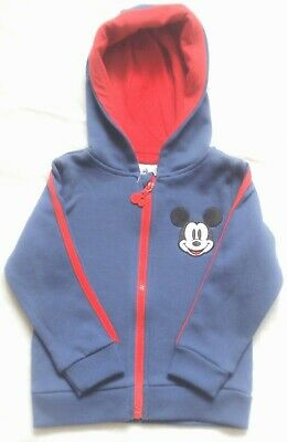 Disney Baby Mickey Mouse Blue Fleece Lined Zipped Hooded Top Hoody 12-18 Mths