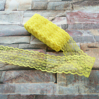 10yards Pretty 40mm Yellow embroidery lace ribbon lace Bilateral DIY accessories