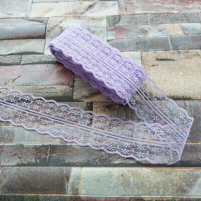 10yards Pretty 40mm Purple embroidery lace ribbon lace Bilateral DIY accessories
