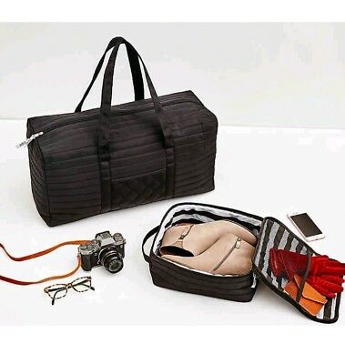 58c9a4c6718a 2PC SET  DSW Black Weekender Tote Quilted Silk Duffel Carryall Shoe ...