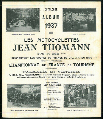 ORIGINAL Catalogue JEAN THOMANN 1927 MOTORECORD Motocyclettes Brochure Dépliant