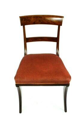 Vintage Regency Style Flamed Mahogany Side Chair with Sabre Legs [PL4991]