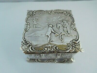 Superb Antique Victorian Solid Silver Table Snuff Box / Jewellery Box - 1894