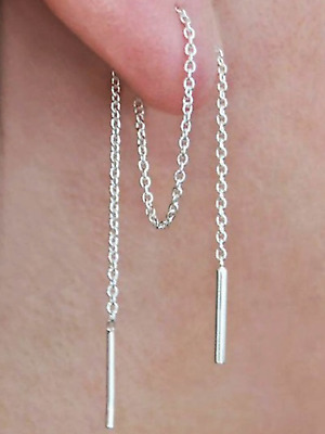 Pair 925 silver extra long chain 18cm threader earrings jewellery present gift