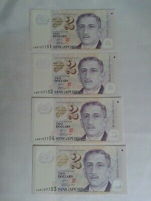 Singapore Education-$2 Note-4 Consecutive-Scarce-Polymer-Note-Crisp-Uncirculated