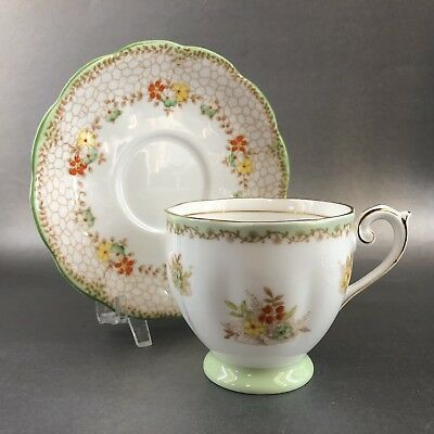 Vintage Bell Tea Cup & Saucer Dainty Mint Green Floral England Bone China Teacup