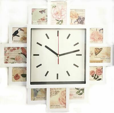 White Hanging Modern 12 Multi Photo Family Picture Frame & Time Wall Clock Decor