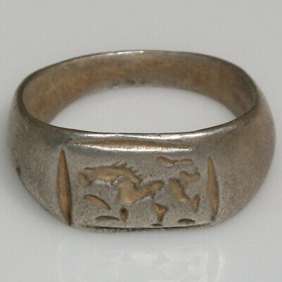 Early Roman Military Silver Stamp Ring Circa 50-100 AD , Lion , WEARABLE