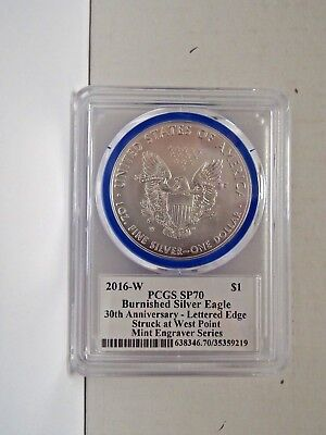 2016 W Rare $1 Burnished Silver Eagle PCGS SP70 Mercanti  Mint Engraver Series