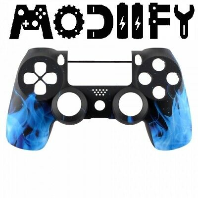 PS4 Controller Blue Fire Replacement Front Shell