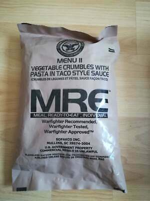 MRE US ARMY Menü 11 Vegetable Crumbles With Pasta in Taco Style Sauce