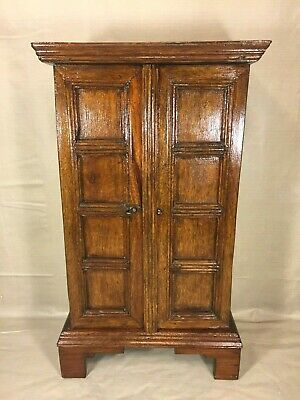 Diminutive Walnut Wood Cupboard w/ Paneled Doors that Open and Latch 2 Shelves
