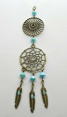 Bronze Turquoise Crystal Dream Catcher Beaded Car Mirror Ornament Decoration