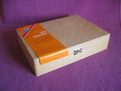 Boots 124 Wooden Wood 35mm Slide Box - Numbered Slots & Filing Index - Unused