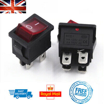 On/Off Rocker Switch with Light 4Pin Rectangle 15x21mm 6A DIY Project Electrical