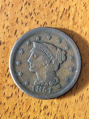 1851 Braided Hair Large Cent Coin - Fine (F) Condition