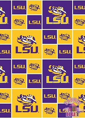 """21/"""" Long Sykel Louisiana State University Tigers Cotton Quilt Fabric N1879"""