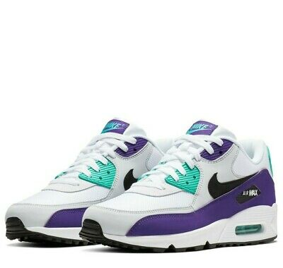 new concept c7117 f2f05 Men s NEW Nike Air Max 90 White Hyper Jade Court Purple Black AJ1285
