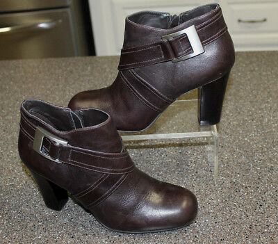 d3b517a8b8b GIANNI BINI WOMEN'S 7M Brown Leather Ankle Boots w/ Buckle & Ring ...