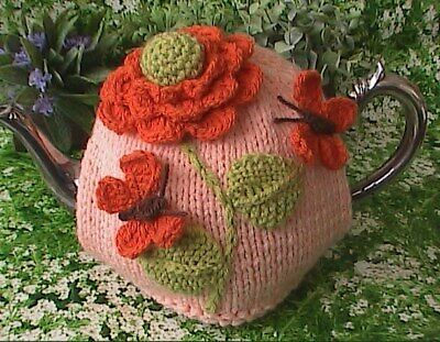 Hand Knit Flower and Butterfly Tea Cosy Medium Pot