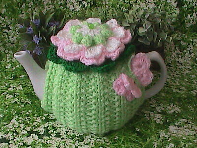Hand Knit Flower and Butterfly Tea Cosy Small Pot