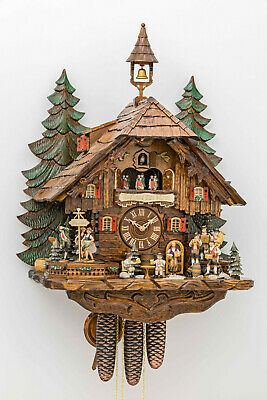 8 Day LARGE 63cm Black Forest Dual Tune Musical / Dancers  Cuckoo Clock,New