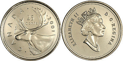 """2001 No P  25 Cents Caribou   From Roll  Unc  """"scarce"""" Only 8,415,000 Minted"""