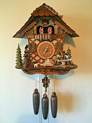 8 Day Black Forest  Musical/Dancers/Moving Sawers & Waterwheel Cuckoo Clock,New