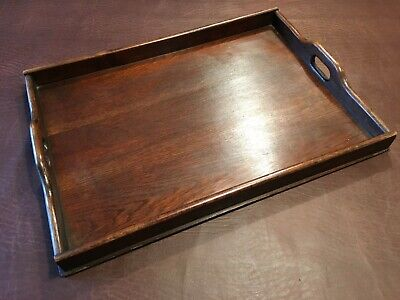 Antique / Vintage Wooden Galleried Butler's Serving Drinks Tray - Waxed