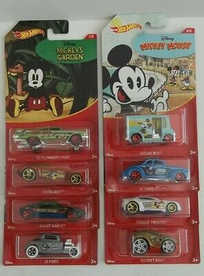 2018 Hot Wheels Walmart Exclusive Walt Disney Mickey Mouse Complete Set of 8