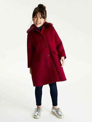 John Lewis & Partners Heirloom Collection Girls Red Fur Collar Coat 1 To 13 Yrs