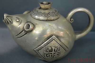 Chinese Collectable Old Miao Silver Carve Wealthy Mouse Rich Tibet Rare Tea Pot
