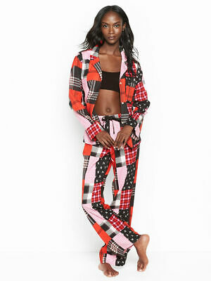 New Victoria's Secret Lightweight The Flannel PJ Pajama Set Patchwork Red Small