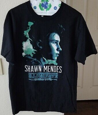 3e162d8a8 Shawn Mendes Size L Black Illuminate World Tour 2017 Band T-Shirt Concert