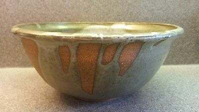 Signed Natural Organic Studio Handcrafted Art Pottery Bowl Partial Icing Glaze