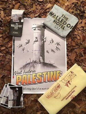 Authentic Banksy Palestine Poster Walled Off Hotel Postcards Pen & Pencil Tshirt