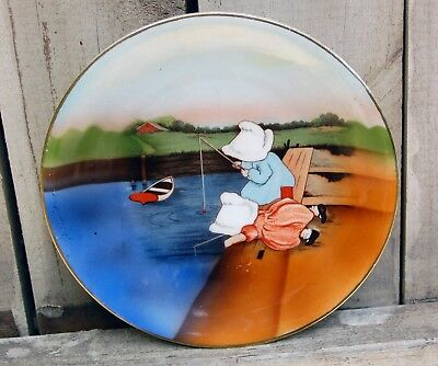 Sunbonnet Babies Plate Childrens Dishes Sunday Fishing Royal Bayreuth Bavaria